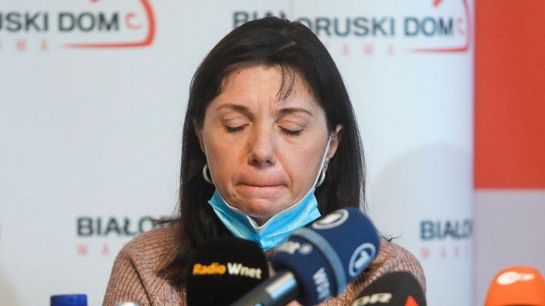 Natalia Protasevich was emotional during a press conference. Pic: Jacek Marczewski/Agencja Gazeta via Reuters
