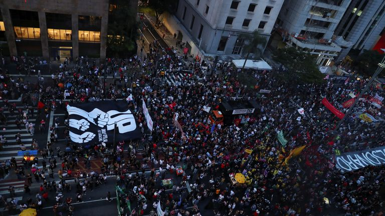 Thousands gathered in Sao Paulo to protest the president, calling for his impeachment