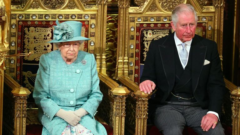 File photo dated 19/12/2019 of Queen Elizabeth II and the Prince of Wales sitting in the chamber ahead of the State Opening of Parliament by the Queen, in the House of Lords at the Palace of Westminster in London. The Queen is to carry out her first major public ceremonial duty since the death of the Duke of Edinburgh when she attends a scaled back Covid-secure State Opening of Parliament on Tuesday