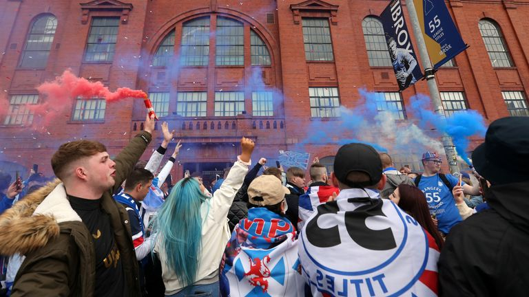 Rangers fans outside the ground before the Scottish Premiership match at Ibrox Stadium, Glasgow. Picture date: Saturday May 15, 2021.