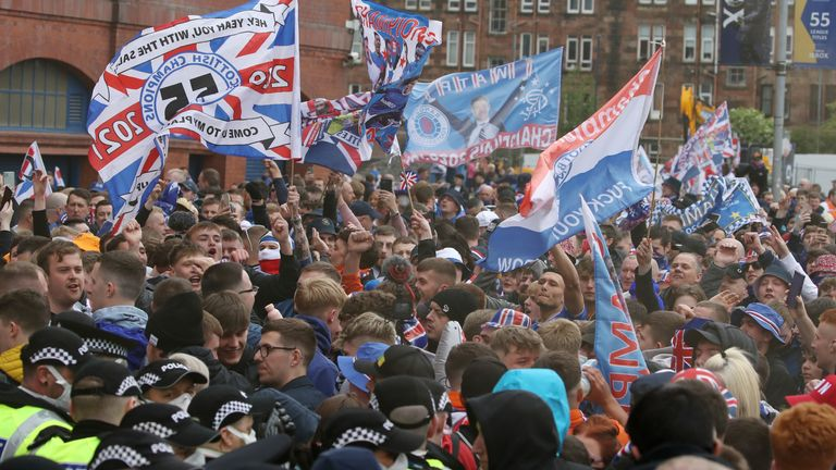 Police and Rangers fans outside Ibrox before the match