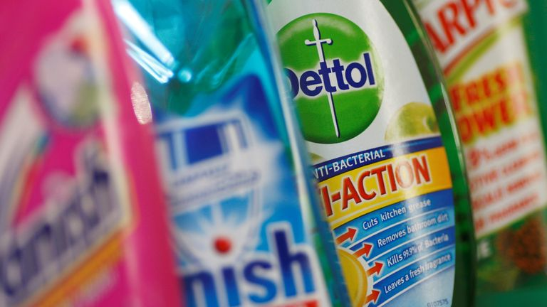 Products produced by Reckitt Benckiser are seen in London, Britain, February 12, 2008
