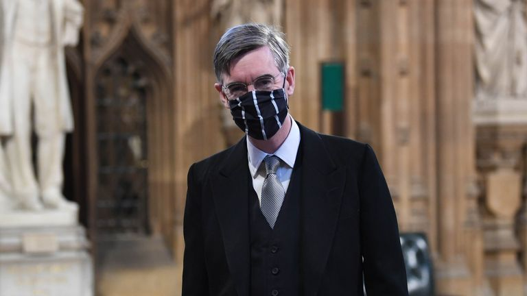 Jacob Rees-Mogg in Central Lobby before the State Opening of Parliament
