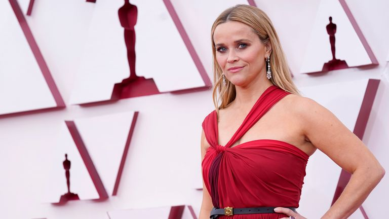 Reese Witherspoon arrives at the 2021 Oscars. Pic: AP