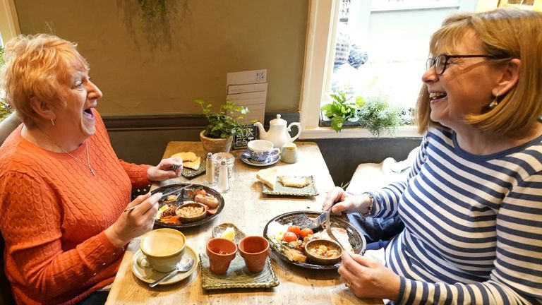 Karen McPherson (left) and Val Cavanagh at the Forest restaurant in York, as indoor hospitality and entertainment venues reopen to the public following the further easing of lockdown restrictions in England. Picture date: Monday May 17, 2021