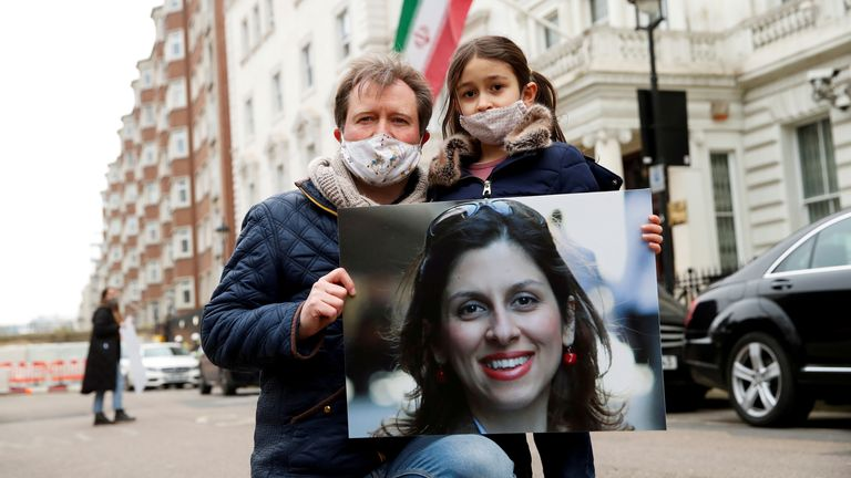Richard Ratcliffe and daughter Gabriella protest outside the Iranian Embassy in London