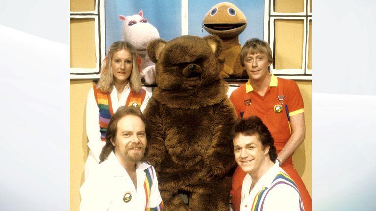 Rainbow: Rod Burton, Jane Tucker, George, Bungle, Zippy, Geoffrey Hayes and Freddy Marks. Pic: Fremantle Media/Shutterstock