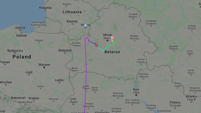 The Ryanair flight from Athens was forced to change direction and land in Minsk. Pic: Flightradar24