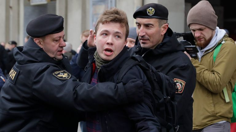 Roman Protasevich being detained by police in Belarus in 2017 during a protest
