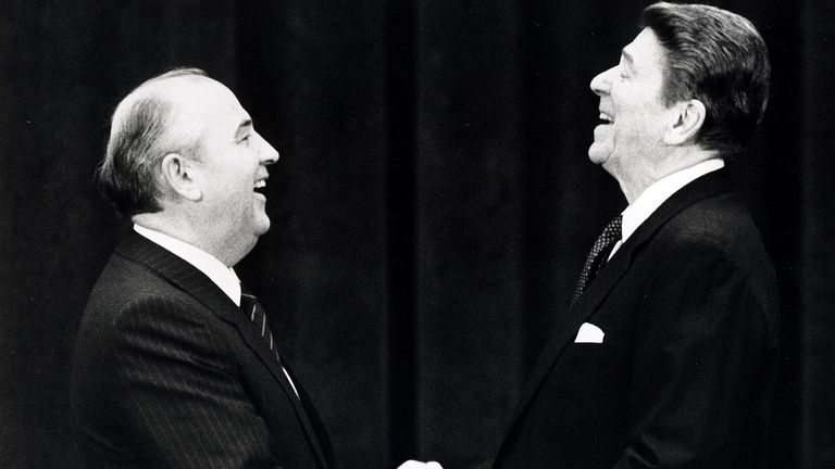 US President Ronald Reagan and former Soviet leader Mikhail Gorbachev also held talks in Geneva, Switzerland