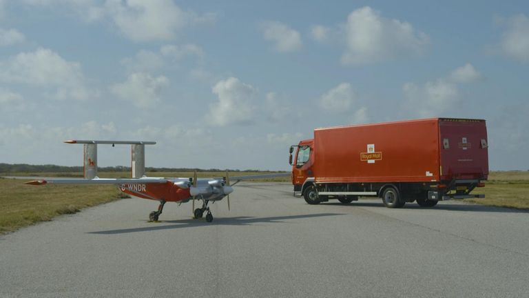 Drones are being trialled by the Royal Mail as a way of delivering items including COVID-19 tests to the Isles of Scilly.