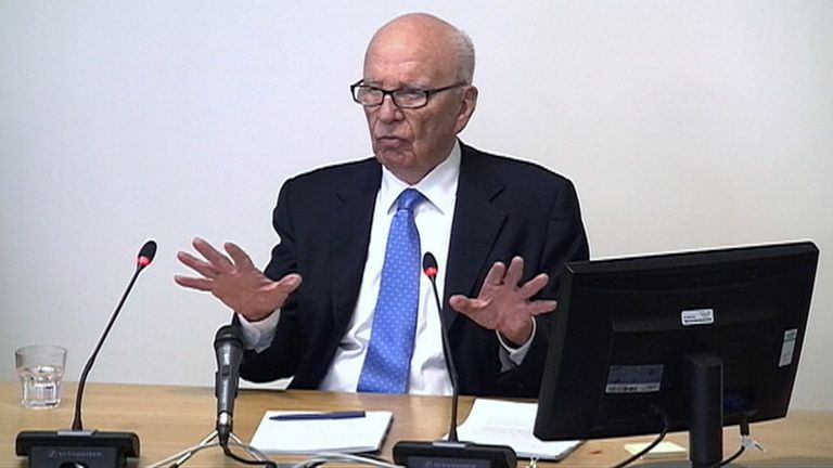 Rupert Murdoch at the Leveson inquiry in 2012