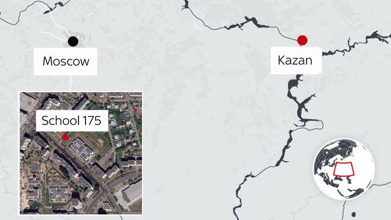 A map of the school shooting in Kazan, Russia