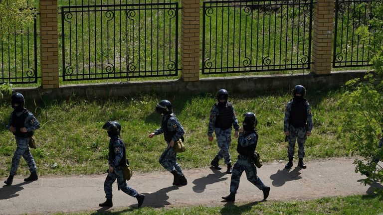Armed police arrive at the school. Pic: Max Zareckiy via Reuters