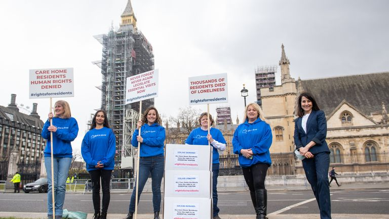 Ruthie Henshall (centre) and Liz Kendall MP (right) join protestors in Parliament Square, London, to deliver a petition calling for all care home residents to have the right to an essential visitor in the event of another wave of the coronavirus pandemic. Picture date: Tuesday May 4, 2021.