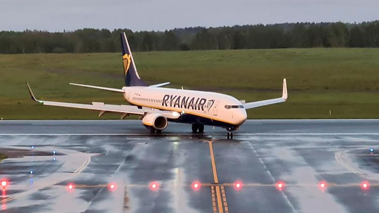 A Ryanair aircraft, which was carrying Belarusian opposition blogger and activist Roman Protasevich and diverted to Belarus, where authorities detained him, lands at Vilnius Airport in Vilnius, Lithuania