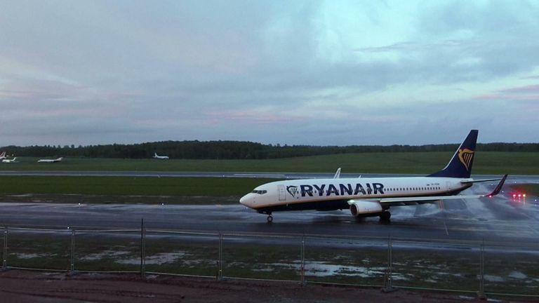 Diverted Ryanair flight finally lands in Belarus