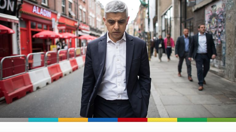 Labour's Mayor of London Sadiq Khan walks along Brick Lane