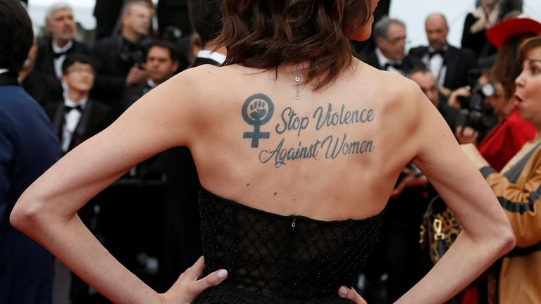The actress has campaigned on the issue of violence against women, picture here with a temporary tattoo at the 2019 Cannes Film Festival