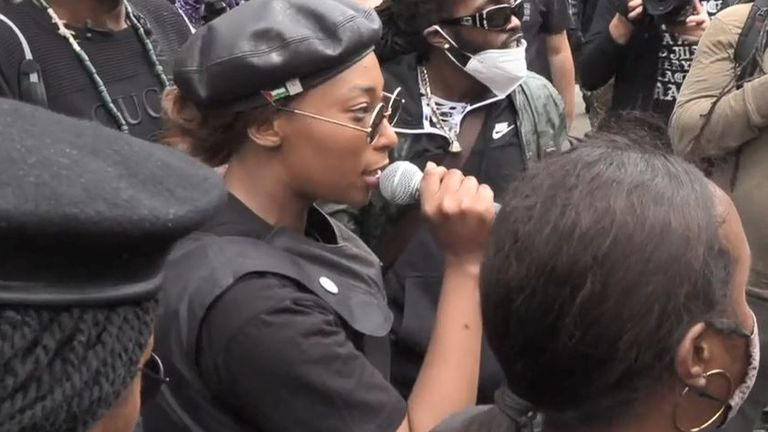 Video grab dated 30/08/2020 of activist Sasha Johnson speaking during the Million People March in London