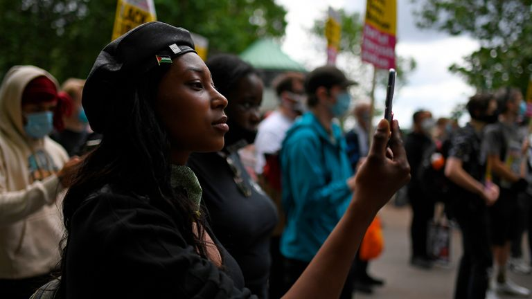 Sasha Johnson pictured during a protest in London's Hyde Park in June 2020. Pic: AP
