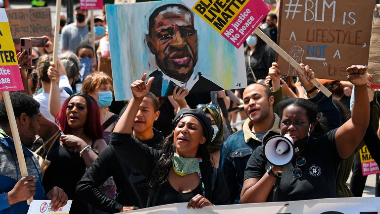 Sasha Johnson (centre) pictured during a protest in London's Hyde Park in June 2020. Pic: AP