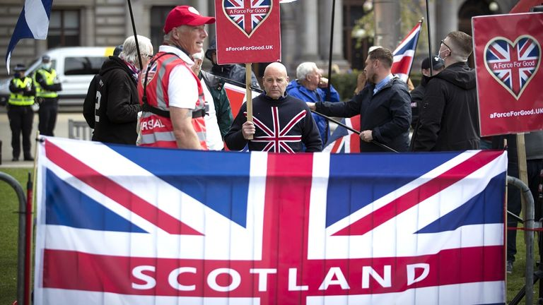 Protesters during a pro-Union rally in George Square, Glasgow
