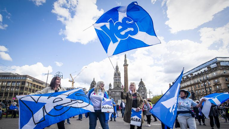 Protesters during a Scottish independence rally in George Square, Glasgow