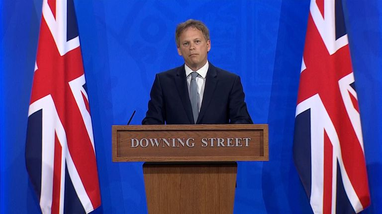 Transport Secretary Grant Shapps leads the government's coronavirus press briefing on foreign travel