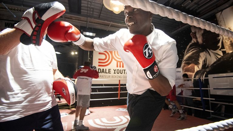 Conservative London mayoral candidate Shaun Bailey in the ring during a visit to Dale Youth boxing club, in west London
