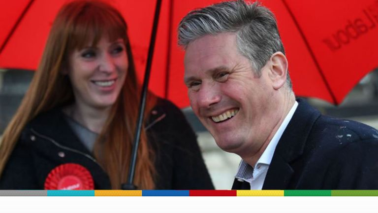 Sir Keir Starmer on the campaign trail in Birmingham with deputy leader Angela Rayner on Wednesday