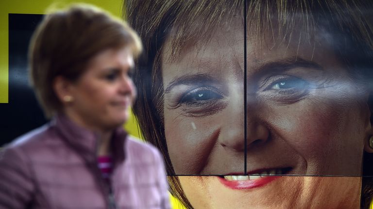 Scotland's First Minister and leader of the Scottish National Party (SNP), Nicola Sturgeon in Dumbarton during campaigning for the Scottish Parliamentary election. Picture date: Wednesday May 5, 2021.