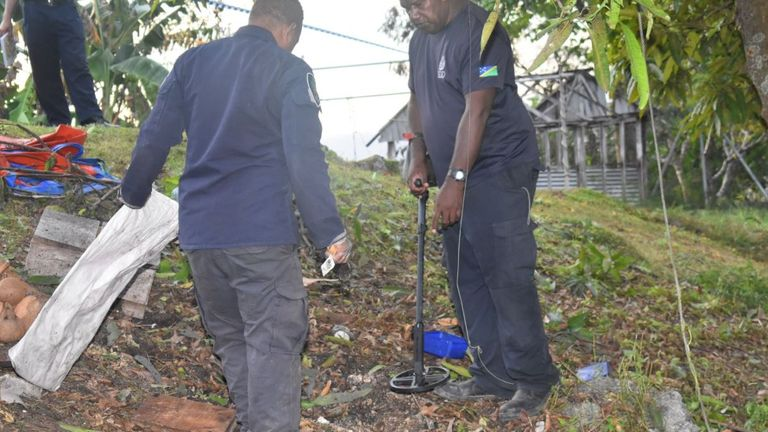 A man has been killed and three people injured after a World War II shell detonated in the Solomon Islands. Pic: Solomon Islands Police
