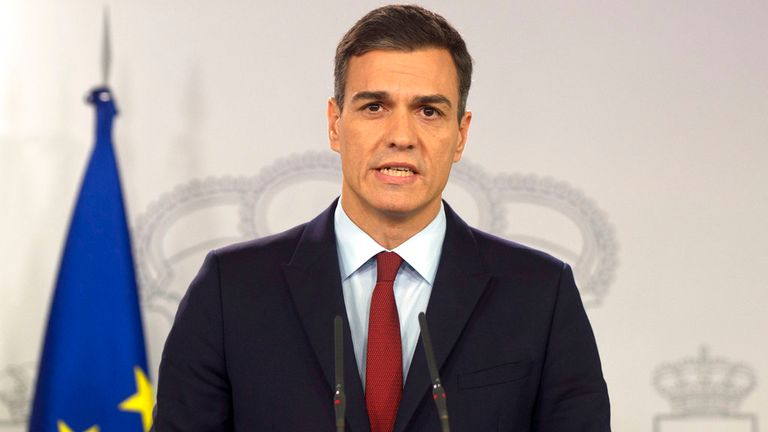 Spain PM Pedro Sanchez is 'delighted' to welcome British tourists back