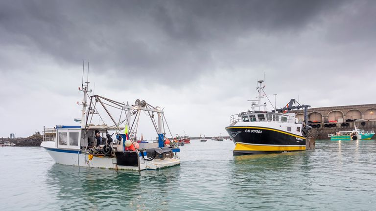 French fishing vessels block the port of St Helier in Jersey, Thursday, May 6, 2021. Pic: AP
