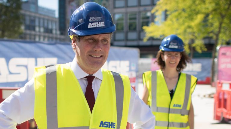Labour Leader Keir Starmer and shadow chancellor Anneliese Dodds during a visit to the town centre regeneration project in Stevenage, Hertfordshire, to discuss the economic recovery in the wake of COVID 19.