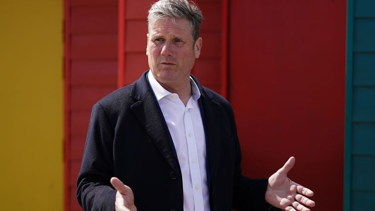 Labour leader Keir Starmer speaks with members of the public on a walkabout as he visits Seaton Carew seafront while on the election campaign trail. Picture date: Saturday May 1, 2021.