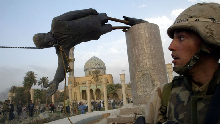 StoryCast '21 travels to Baghdad to tell the story of the moment US troops helped pulled down a statue of Saddam Hussein