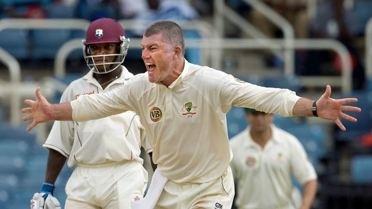 Stuart MacGill in action against the West Indies in 2008
