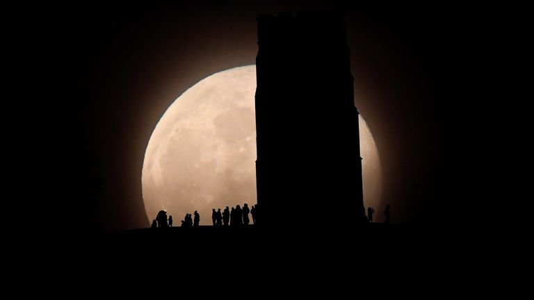 A previous supermoon pictured over Glastonbury Tor
