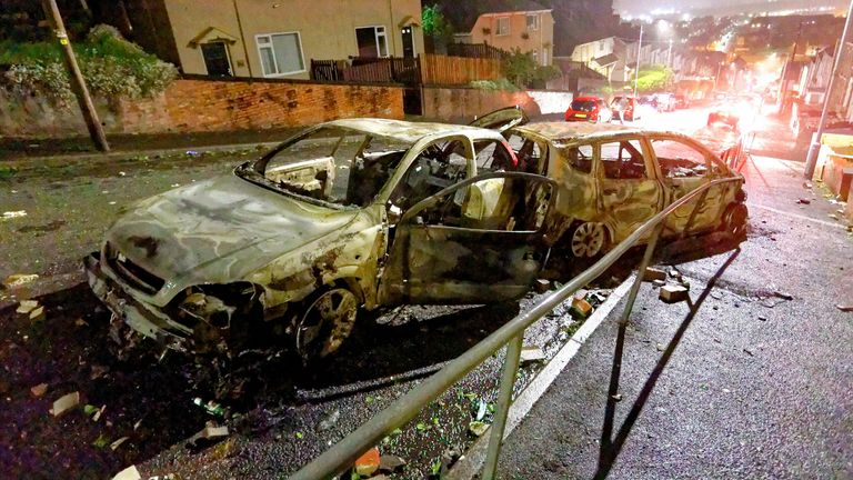 Two of the burned out cars in the Mayhill area of Swansea. Pic: Dimitris Legakis/Athena Pictures/Shutterstock