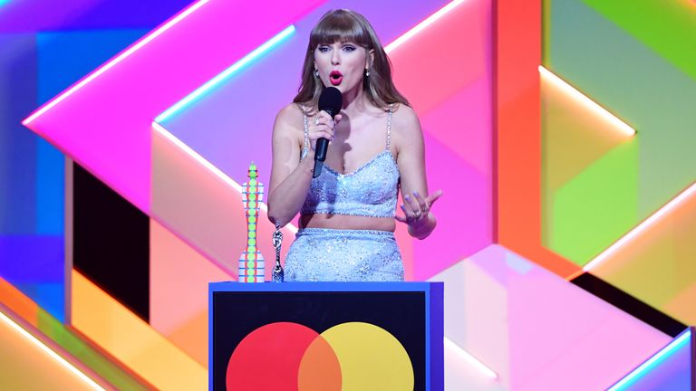 Taylor Swift was named global icon at this year's Brits