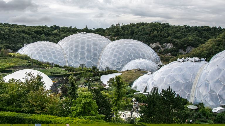 the Eden Project in Cornwall as drilling begins there as part of a scheme to produce geothermal energy.