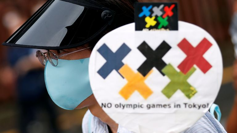 A demonstrator wearing a face mask holds a sign to protest against the Tokyo 2020 Olympic Games