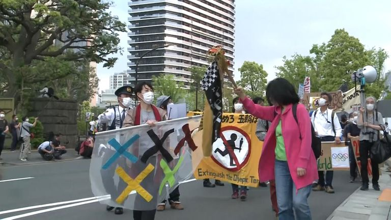 Around 100 people gathered to demonstrate against the Tokyo Olympics – with protesters saying the games shouldn't happen during a global pandemic.