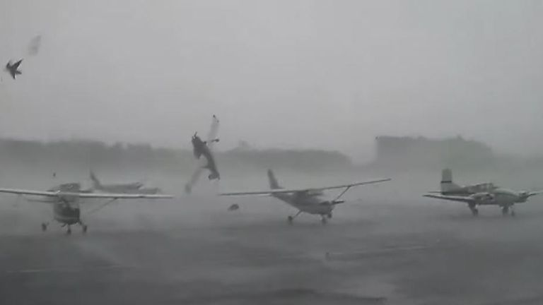 Tornado damages planes in South Carolina