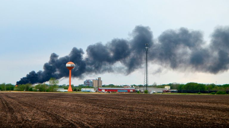 No injuries have been reported after the train derailed in Iowa. Pic AP