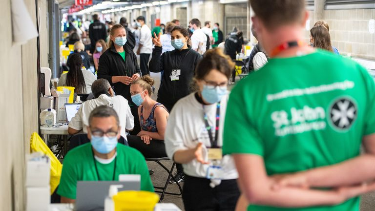 More than 100 vaccinators are working at the stadium