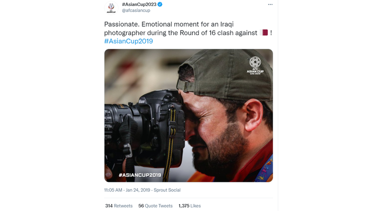 The photo was shared in 2019 on the Asian Cup football tournament's Twitter page.