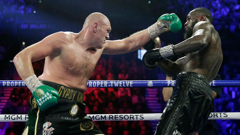 Tyson Fury defeated Deontay Wilder in Las Vegas in February 2020. Pic: AP